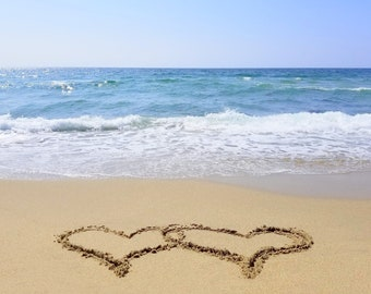 Intertwined hearts, single heart or double hearts both listed, instant download, beach decor, blue sky photo, LOVE