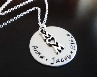 Mother Children Personalized Mom Gift Mothers Day Handstamped Necklace
