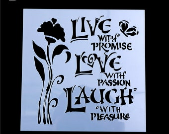 5x5 Live Love Laugh with Flower Stencil