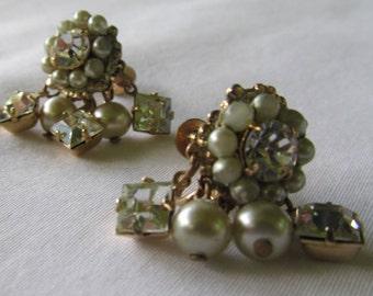 Screw Back Earrings Seed Pearl Earrings Rhinestones, Gold Screw Back Earrings, Art Deco Earrings, Art Deco Jewelry