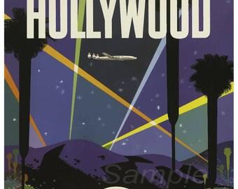 Vintage Hollywood TWA Travel Poster Print