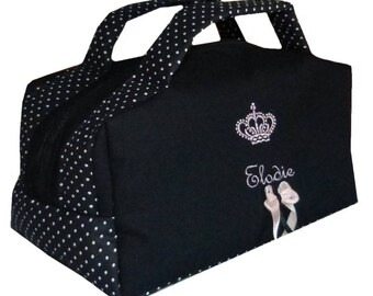 Embroidered Crown custom black and white polka dot suitcase vanity Toiletry Kit