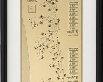 Torrey Pines Golf Course - North and South Outline (Print)