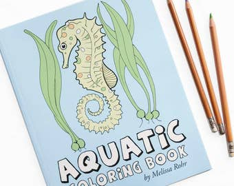 Aquatic Coloring Book, Sea Animals, Whale, Fish, Manatee, Dolphin and Other Ocean Life, Ocean Gift