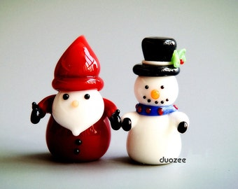 Fairy Garden Miniatures, Christmas Miniatures, Handmade Lampwork Glass Miniature Santa and Snowman Figurine, Santa Figure, Snowman Miniature