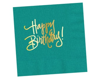 Napkins   Happy Birthday - Teal