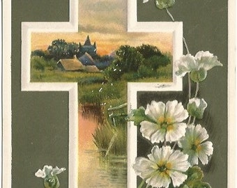 Dark Green Background with White Christian Cross with Sunset Lake Scene and White Carnations Springtime EASTER Greeting Vintage Postcard