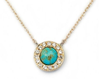 Turquoise Necklace, Turquoise Diamond Necklace, Tribal Necklace, Gold Turquoise Necklace, December Birthstone, Turquoise Pendant, Nixin