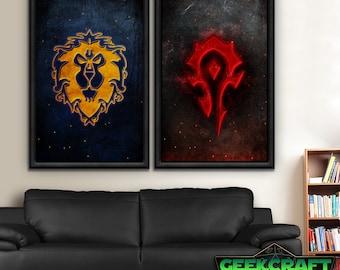 Alliance, Horde, Alliance, HS, WOW, World of Warcraft, Warcraft, Alliance, Horde, Hordes, Pandaria, Legion, World, Poster Print Set