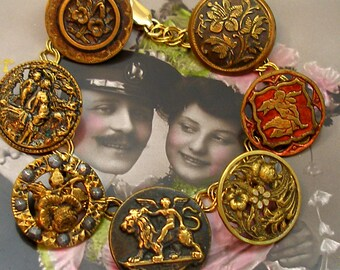 "Cupids Garden Antique BUTTON charm bracelet, Victorian Eros & flowers on gold. 8"" Antique button jewelry, jewellery."