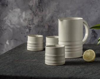 Ceramic Pitcher Set, White pitcher set, water pitcher set, handmade ceramic pitcher set, Serving Pitcher, Stoneware Pitcher & Two tumblers