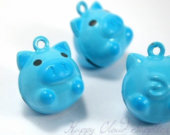 Funny Blue Pig Head Brass and Enamel Bells... 4pcs