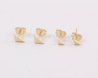 Gold triangle studs | Triangle earrings | Gold stud earrings | Gold earrings | Small gold earrings | Girls gold studs | Men gold earrings