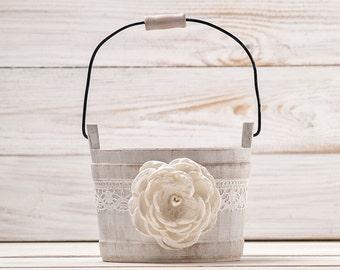 Flower Girl Basket, Ivory Flower Girl Basket, Wedding Basket, Rustic Flower Basket, Wood Flower Basket, Flower Bearer Basket, Bridal Basket