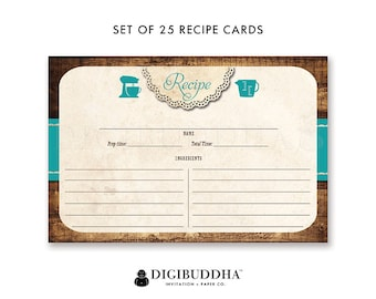 Recipe Card 4x6 Set of 25 Recipe Cards Printed Package of 25 Double Sided Recipe Cards Blank Pack of 25 Teal Recipe Cards - Tracey