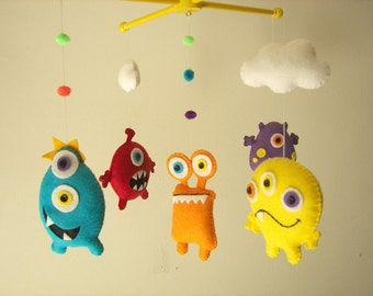 "Baby crib mobile, Monster mobile, Alien mobile, felt mobile, nursery mobile ""Scary Monster"""