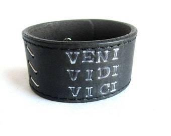 Mens black leather bracelet, inspirational leather bracelet, mens black leather cuff bracelet, inspirational quote leather bracelet
