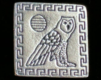 Pewter OWL Danforth Buttons 3/4 Inch Square Signed and Dated 1994 - Greek Key Border
