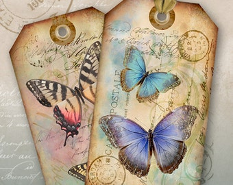 Printable Digital Collage Sheet instant Download BUTTERFLIES Gift Tags Vintage Paper for DIY Jewelry Holders Greeting Cards Scrapbooking