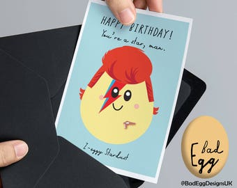 """BadEgg David Bowie Card """"Z-eggy Stardust"""" - David Bowie Ziggy Stardust Inspired Music Greetings Card by Bad Egg Designs UK"""