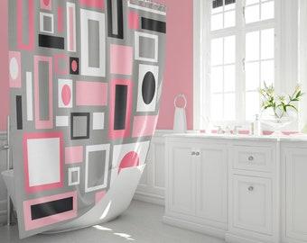 PIink Shower Curtain Mid Century Modern Modern Home Decor Home Decor Geometric  Bathroom Decor Retro Mid Century 1950s 1960s Home Living