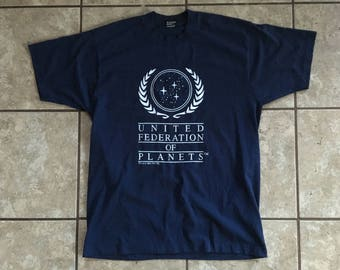 United Federation of Planets Star Trek Vintage T Shirt 1993 Best XL Made in USA Navy Blue and White