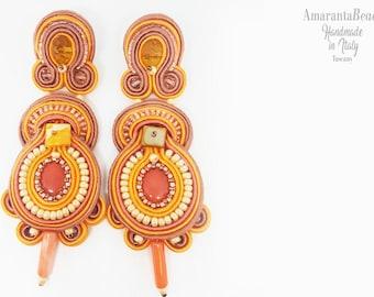 Soutache earrings summer 2018 , Soutache earrings orange and pink, soutache earrings pendant