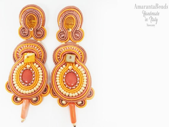 Soutache earrings, Summer Pink orange earrings, Dangle earrings, Soutache bijoux, statement  earrings, orecchini soutache, made in Tuscany