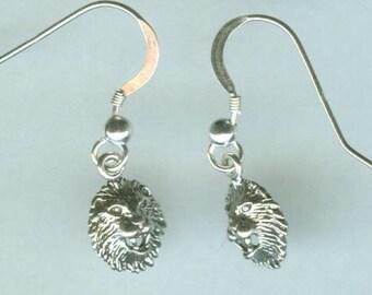 Sterling Silver LION HEAD Earrings -- French Earwires - Leo