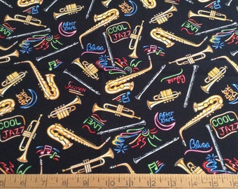 Horn musical instruments cotton fabric by the yard
