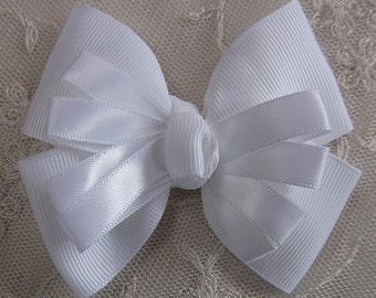 WHITE Grosgrain Satin Ribbon Bow Applique Bridal Baby Hair Accessory