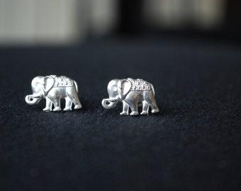 Silver Elephant Studs -- Elephant Earrings, Lucky Elephant Studs