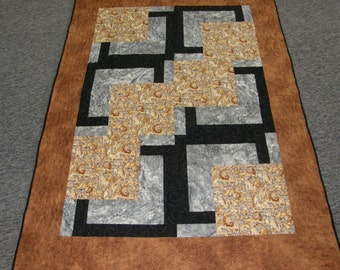 Sale - Throw Quilt,Brown Gray Black Quilted Throw, Man Boy Quilted Throw, Fathers Day, Lion Earth Tone Quilt, Lap Quilt, Quiltsy Handmade