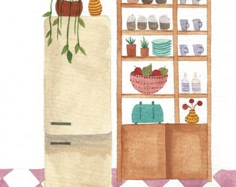 Retro Kitchen - Illustration by Taylor Ann - Art Print