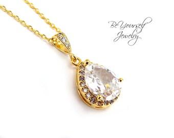 Wedding pendant etsy gold bridal necklace white crystal teardrop bride necklace cubic zirconia wedding pendant gold wedding jewelry cz bridesmaid gift necklace aloadofball Choice Image
