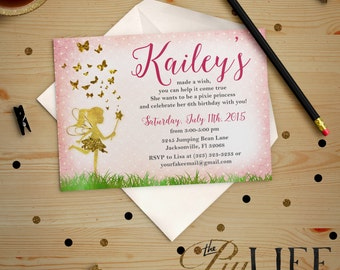 Glitter Butterfly Ballerina Fairy Birthday Invitation Printable DIY No. I214