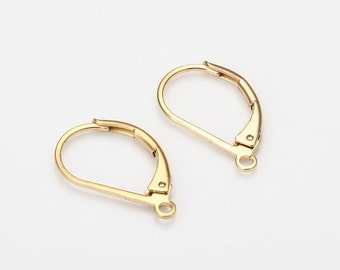 D Curved Ear Hook Ear Clutch Ear Nut Polished Gold- Plated - 10 Pieces [H0053-PG]