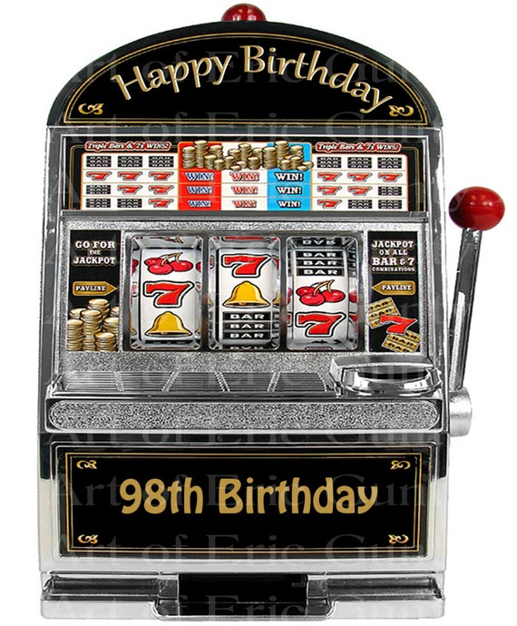 98th Birthday Casino Slot Machine - Edible Cake and Cupcake Topper For Birthdays and Parties! - D24061