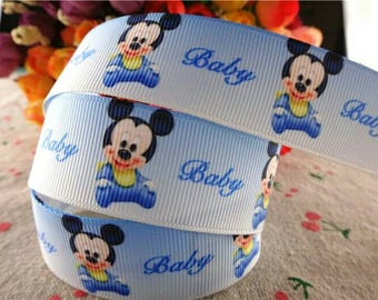 313 - Baby Ribbon mickey - grosgrain - 25 mm sold by 50 CM - Baby mickey ribbon