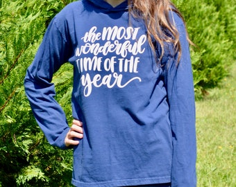 The Most Wonderful Time of the Year Comfort Colors Hooded T Shirt - Christmas Shirt - Comfortable Hooded Shirt - Winter Shirt