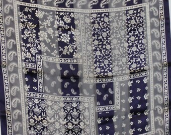 Adrienne Vittandini Scarf   Bandana Silk   neckerchief   small scarf   scquare scarf   blue silk bandana   chiffon scarf   blue and white  