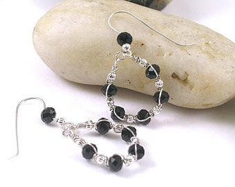 Faceted Onyx Wire Wrapped Hoop Earrings