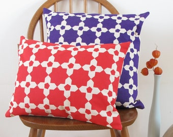 Mosaic Tile Screen Print Cushion in Cherry Red