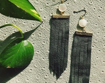 BLACK + PEARL // Fringe Leather Earrings