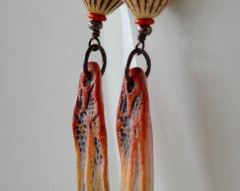 Spike Earrings, Colorful Earrings, Pod Earrings, Carved Clay Earrings, 3 Inch Earrings, Unusual Funky Jewelry, Orange Earrings