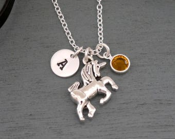 Unicorn Necklace, Personalized Unicorn Necklace, Silver Unicorn Necklace, Initial Necklace, Unicorn Jewelry, Unicorn Gifts, Unicorn, Custom