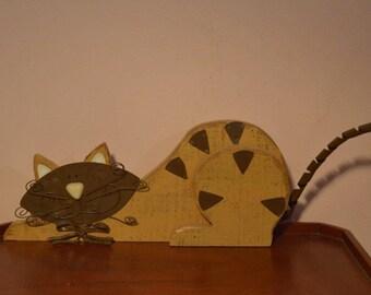 "Vintage Original 21"" Long 3 Dimensional Folk Art Cat Uniquely Created of Wood Metal & Ceramic"