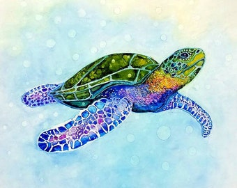 turtle , alcohol ink painting , Southern Passage