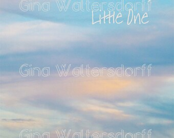 Nursery wall decor, sunset, collage, peach blue, whimsical childrens wall art, typography, words 'Sweet Dreams Little One' Gina Waltersdorff