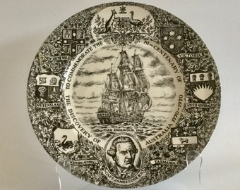 Wood & Sons Plate, Australia Commerative Plate, English Ironstone , Collectors Plate, Discovery of Australia  Plate,  Aussie Plate